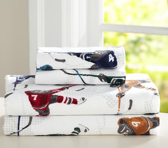 Lodge Ice Hockey Flannel Sheet Set | Pottery Barn Kids