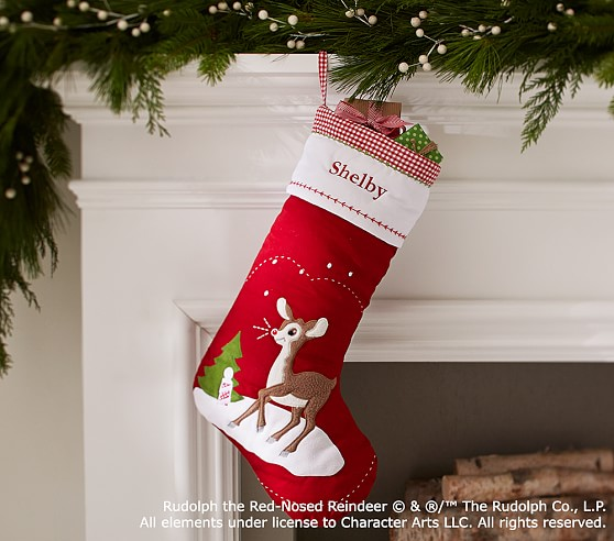 rudolph the red nosed reindeer quilted stocking pottery. Black Bedroom Furniture Sets. Home Design Ideas
