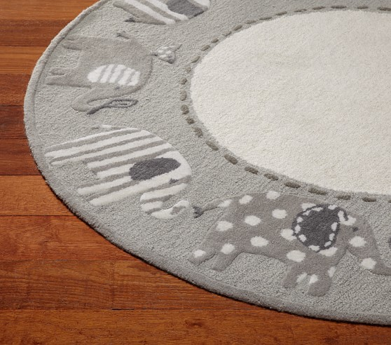 Elephant round rug pottery barn kids for Round rugs for kids