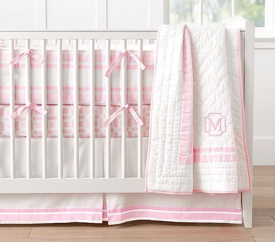 Pottery Barn Lightweight Quilts: Harper Nursery Bedding - Light Pink