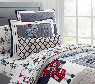Robot Quilted Bedding Pottery Barn Kids