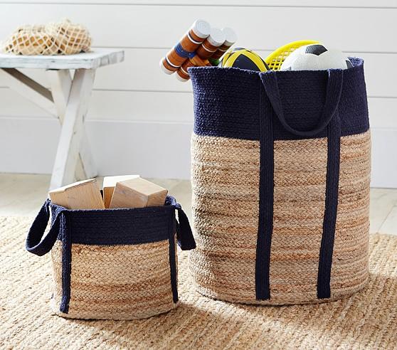 Navy Woven Jute Baskets