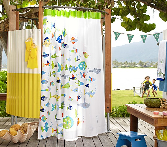 Funny fish shower curtain pottery barn kids for Fish shower curtains