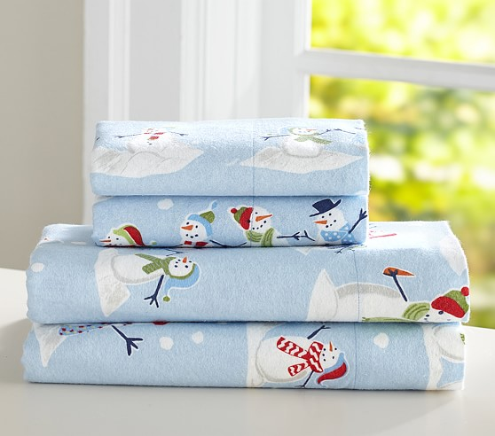 Snowman Flannel Sheet Set Pottery Barn Kids