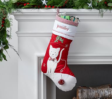 Kitty Quilted Stocking Pottery Barn Kids