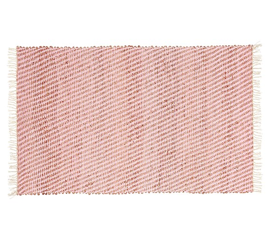 Pink Chenille Rug: Sisal Chenille Jute Mat - Pink