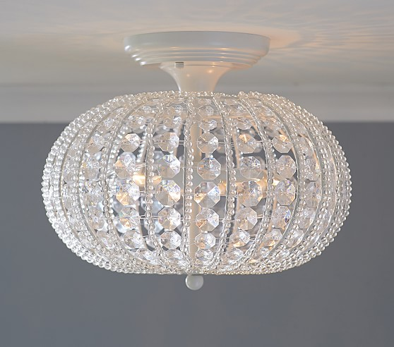 Clear acrylic round flushmount chandelier pottery barn kids for Chandelier light for girls room