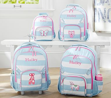 Fairfax Aqua White Stripe Backpacks Pottery Barn Kids