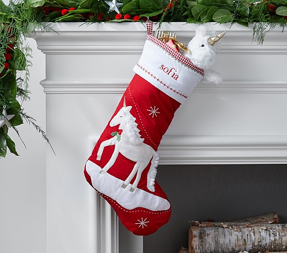 Unicorn Quilted Stocking Pottery Barn Kids