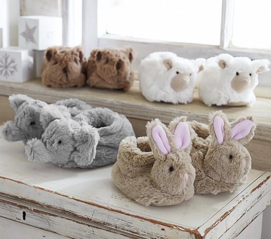 Nursery Fur Animal Slippers Pottery Barn Kids