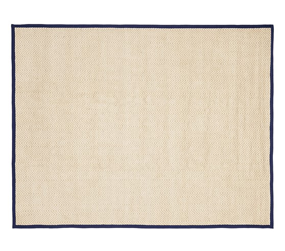 Chenille Jute Thin Solid Border Rug