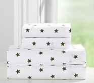 Organic Star Sheet Set, Twin, Olive