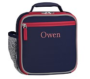 Classic Lunch Bag, Fairfax Solid Navy/Red, No Patch