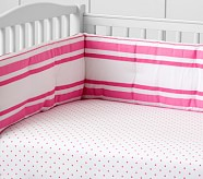Organic Pin Dot Crib Fitted Sheet, Bright Pink