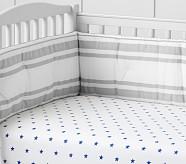 Organic Star Crib Fitted Sheet, Nautical Blue