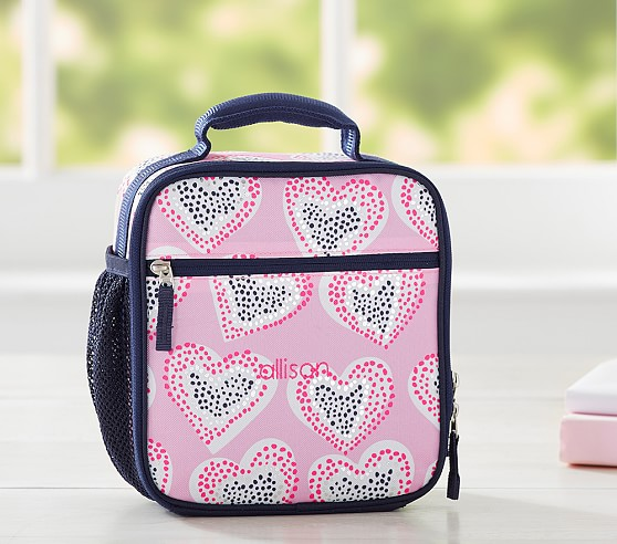 Mackenzie Pink Dotty Foil Heart Lunch Bag