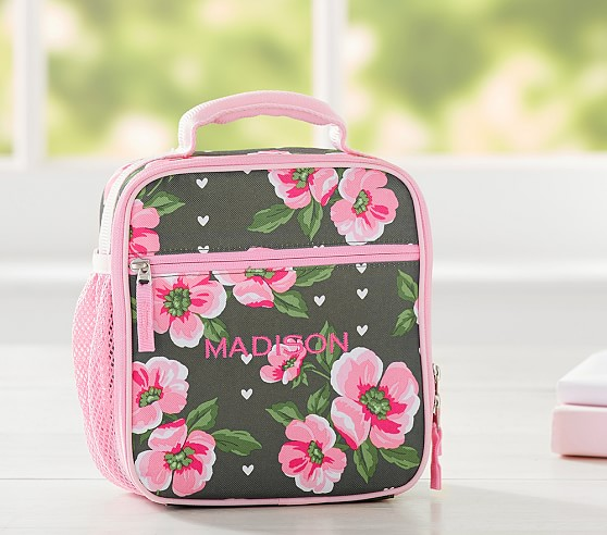 Mackenzie Olive Flower Heart Lunch Bag