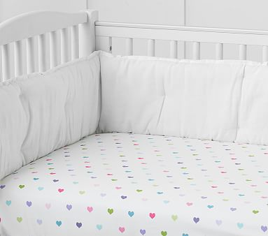 Organic Multi Colored Heart Crib Fitted Sheet Pottery