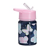 Mackenzie Water Bottle Navy/Pink Pretty Butterfly
