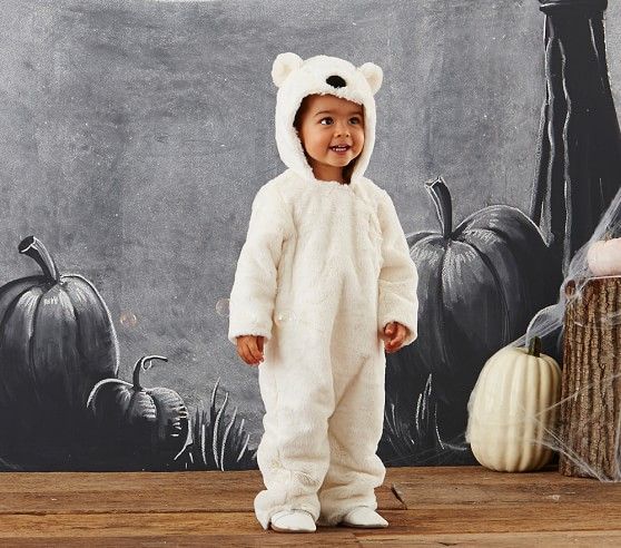 The polar bear costume is a soft and snug outfit for your child to enjoy the evening in. This product includes a white jumpsuit with attached red scarf, and a polar bear headpiece. You'll have a great time playing with your baby when they're dressed as a cute Polar Bear.