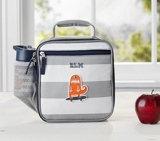 Fairfax Gray/White Stripe Lunch Bag