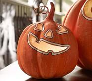 Halloween Luminary, Small Orange Pumpkin with Face