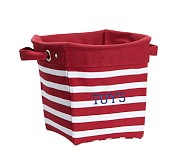 Red Breton Stripe Canvas Storage, Medium