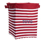 Red Breton Stripe Canvas Storage, Large