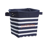 Navy Breton Stripe Canvas Storage, Medium