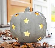 Halloween Luminary - Small White Pumpkin With Stars
