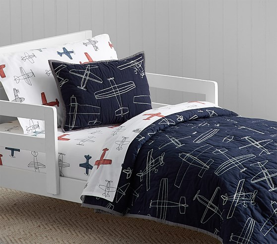 Braden Airplane Quilted Toddler Bedding Pottery Barn Kids