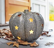 Halloween Silver Glitter Pumpkin with Stars Luminary - Mini