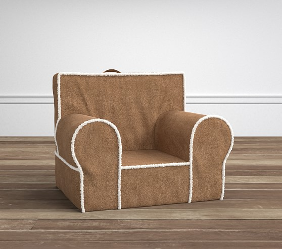 Natural suede with sherpa trim anywhere chair pottery for Anywhere chair