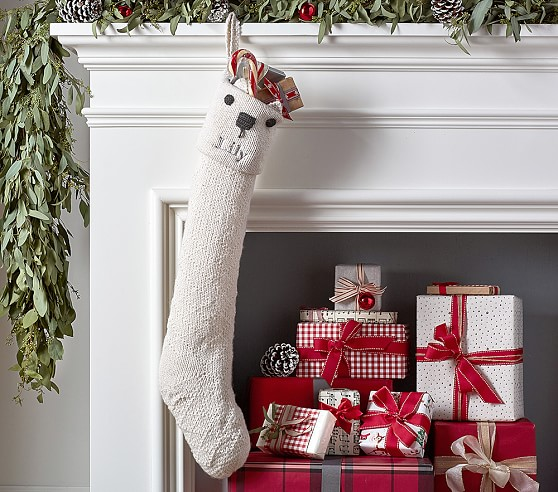Polar Bear Knit Stocking Pottery Barn Kids