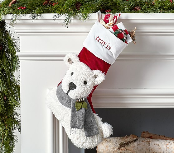 Polar Bear Luxe Velvet Stocking Pottery Barn Kids