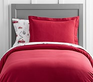 Solid Flannel Duvet, Twin, Red