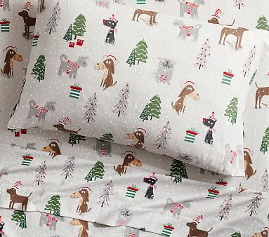 Holiday Dog Flannel Sheet Set Pottery Barn Kids