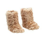 Faux Fur Puppy Slippers, Small, Taupe