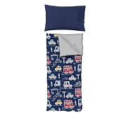 Things That Go Sleeping Bag with Navy Flannel Pillowcase