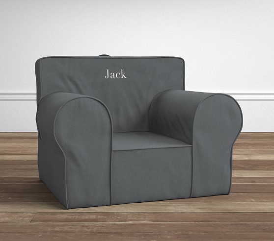 charcoal twill oversized anywhere chair slipcover only pottery barn kids. Black Bedroom Furniture Sets. Home Design Ideas