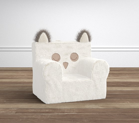 Ivory Plush Faux Fur Owl My First Anywhere Chair