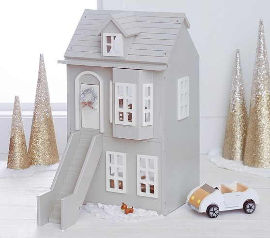 beautiful grey doll house