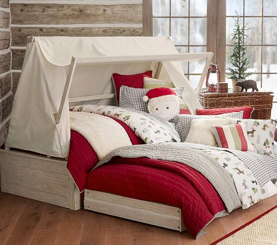 Plush Buffalo Plaid Rug: Santa Decorative Pillow