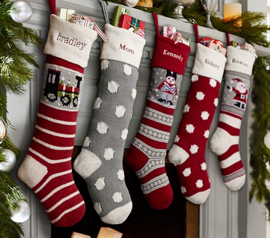 Santa natural fair isle stocking pottery barn kids