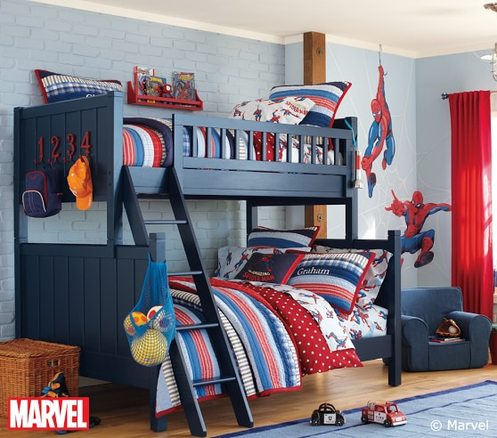 Spider man sheet set pottery barn kids for Spiderman kids room