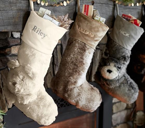 Polar Bear Faux Fur Stocking Pottery Barn Kids