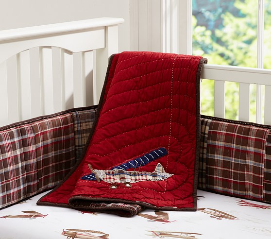 Madras Nursery Quilt, Red/Brown with Plane Icon