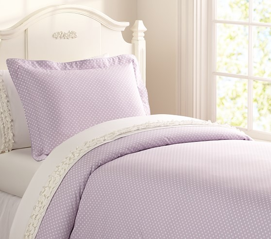 Mini Dot Duvet Cover, Twin, Light Lavender