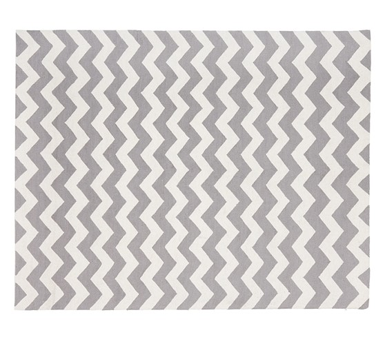 Chevron Wool Rug 3x5 Gray