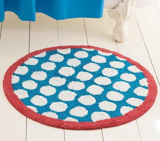 Round Dot Bath Mat, Blue